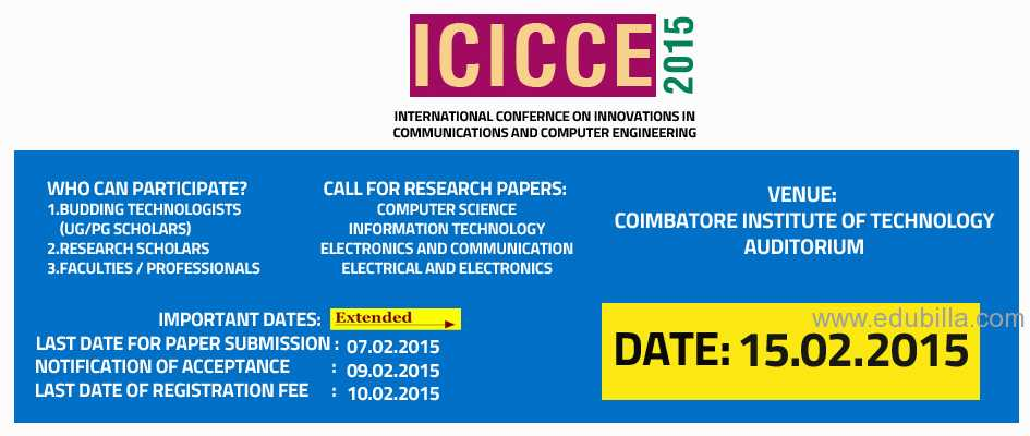 International Conference in Coimbatore-(ICICCE 2015)