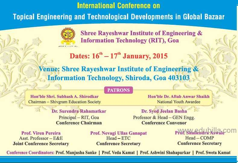 International Conference on Topical Engineering & Technological Developments in Global Bazaar