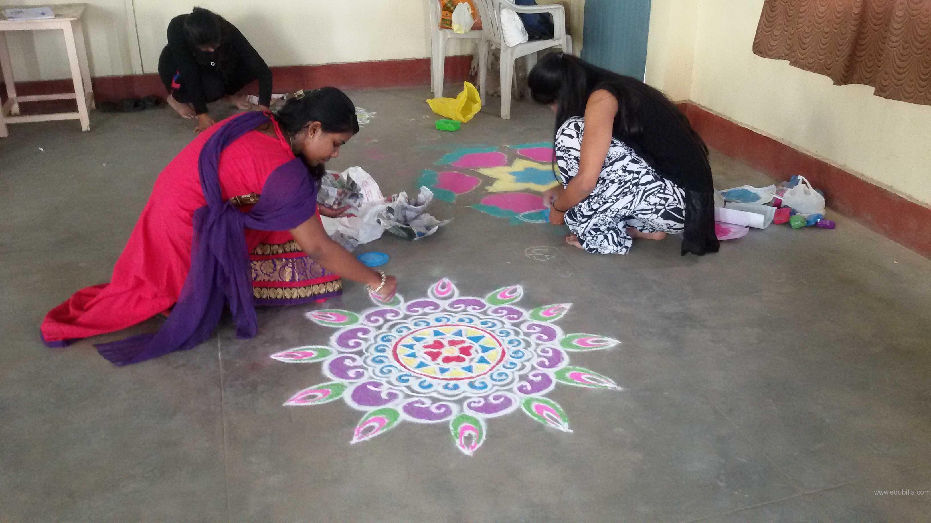 Rangoli, traditional dances , singing, fashion show, youth festival, cookery