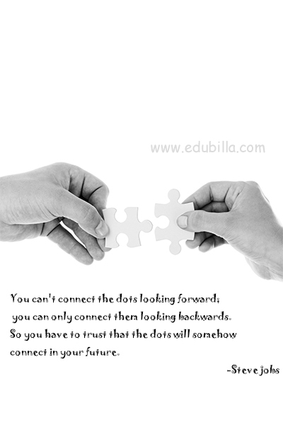 You can't connect the dots looking forward; you can only connect them looking backwards. So you have to trust that the dots will somehow connect in your future.