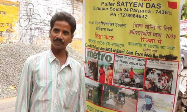 Satyem das finishes 2,500 km adventurous journey from kolkata to laddakh on his paddle rickshaw