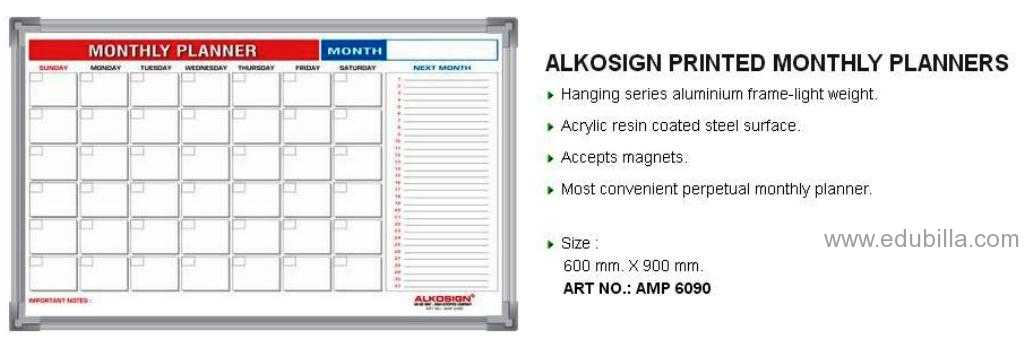 ALKOSIGN PRINTED MONTHLY PLANNERS