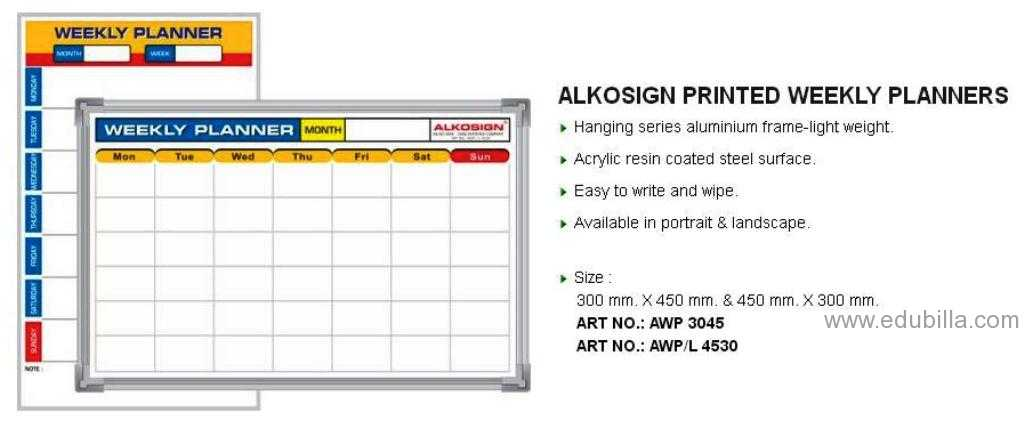 ALKOSIGN PRINTED WEEKLY PLANNERS
