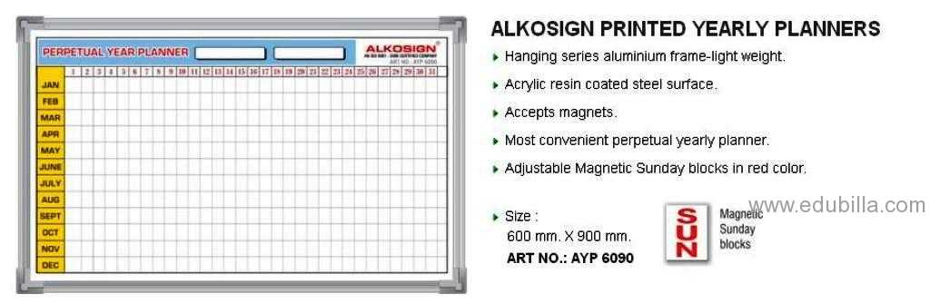 ALKOSIGN PRINTED YEARLY PLANNERS