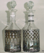 Colored Glass Decanter and Bottles